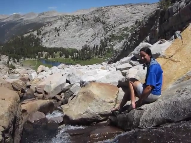 2298 Video of Vicki sticking her feet in the icy water below the Lyell Glacier