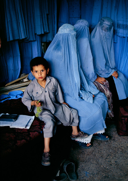 Burka Shop, Kabul, Afghanistan, 2002, by Steve McCurry