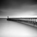 Whitby Pier in black and white