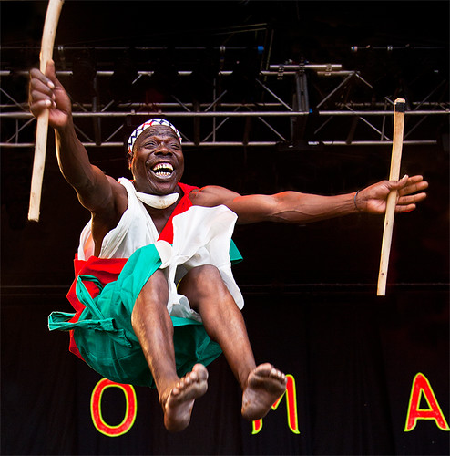 park portrait smile jump concert gig drummer drummers womad 2010 charlton the burundi malmesbury kennymathieson of