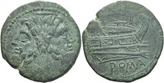 99/10 Luceria P As. Fourth phase. Janus; I / Prow / ROMA. No mintmark but upward gaze of Janus in style of P coinage.  RR 7g65