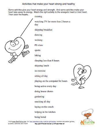 Printables Health Printable Worksheets printable health worksheets imperialdesignstudio heart worksheet for kids being active some activit