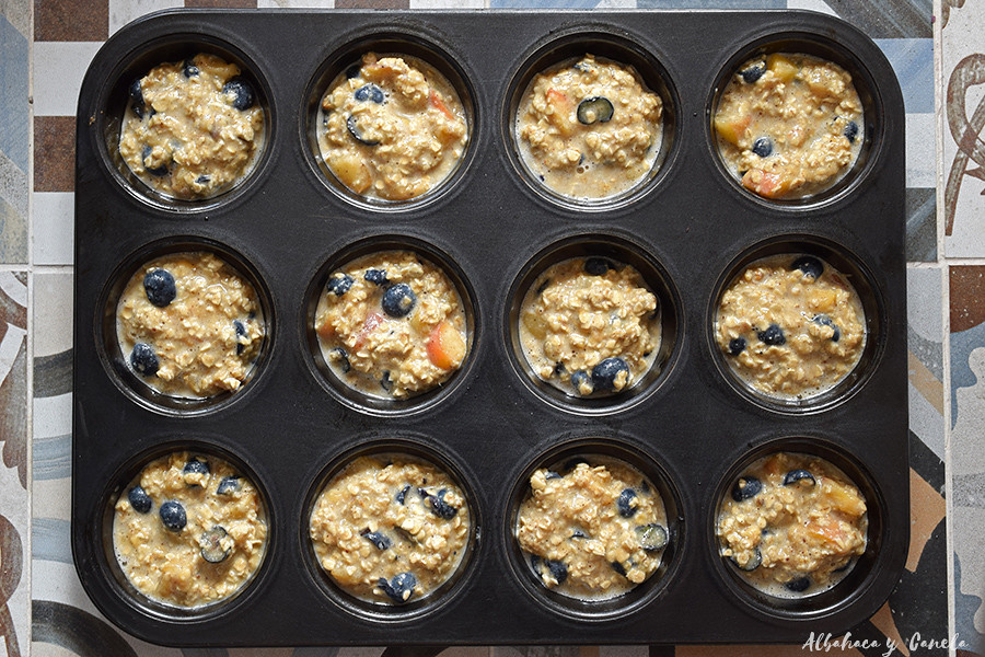 Oatmeal banana muffins with blueberries