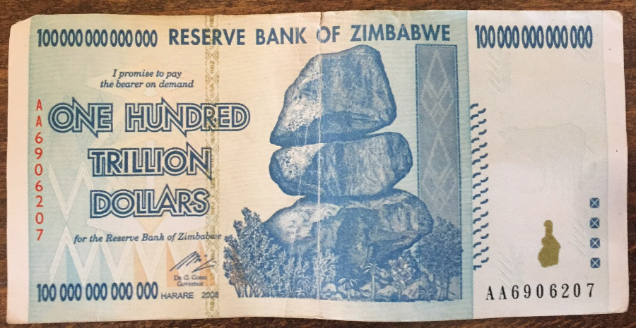 Zimbabwe One Hundred Trillion Dollars