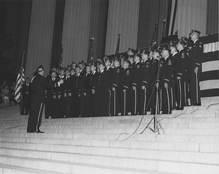 Photograph of Winning Choral Group of American Legion, Ceremony Lighting the National Archives Building
