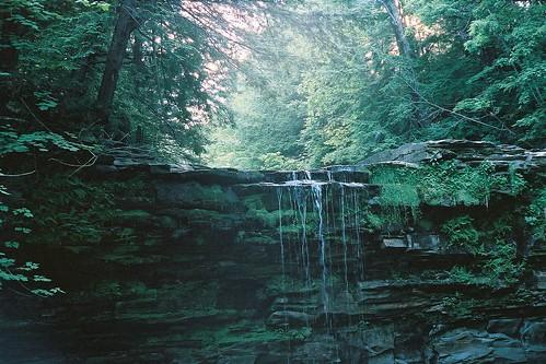 waterfall iso400 kodakhd400 christmansanctuary bozenkill ‹camera›yashicaelectro35gt