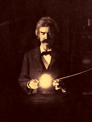 Mark Twain in Nikola Tesla's apartment, New York 1894