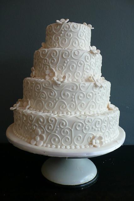 White Swirls Wedding Cake
