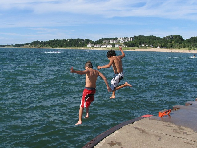 Kids jumping in Lake Michigan