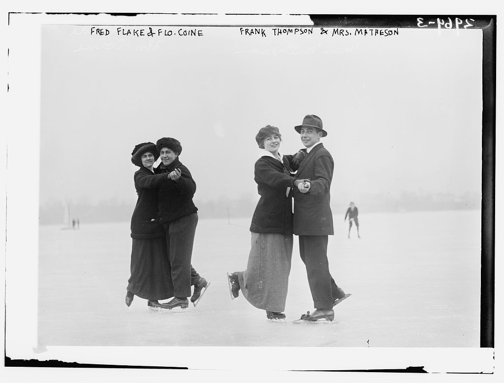 Fred Flake and Flo Coine; Frank Thompson and Mrs. Matheson -- ice skating (LOC)
