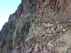 Vers le Trou du Tafonatu : attaque de la vire depuis le col des Maures