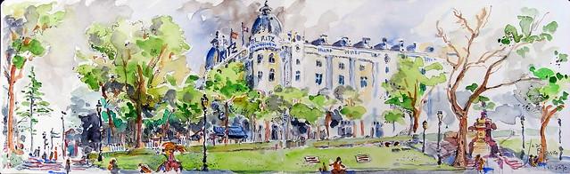 """(¡PINTANDO DE NUEVO!) ---> """"Antes de la tormenta. Hotel Ritz, desde el Museo del Prado"""" [apunte Moleskine]"""
