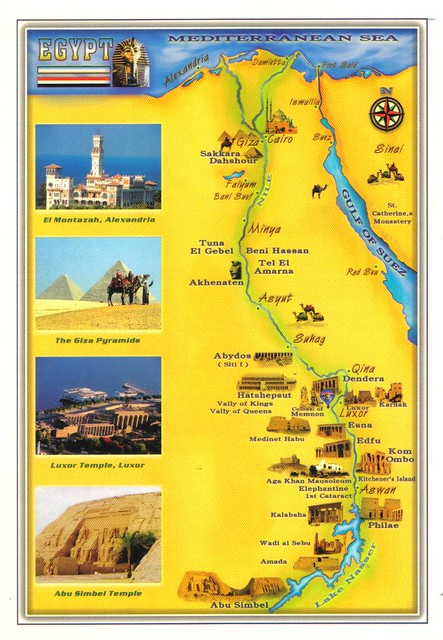 Egypt map postcard