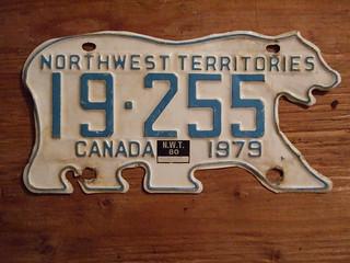 NORTHWEST TERRITORIES 1979-80 ---PASSENGER PLATE 19255