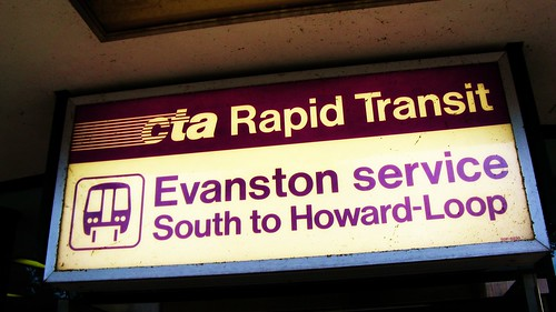 Chicago Transit Authority, Purple line sign at the entrance to the Linden Avenue terminal. Wilmette Illinois. Wednsday, August 4th, 2010. by Eddie from Chicago
