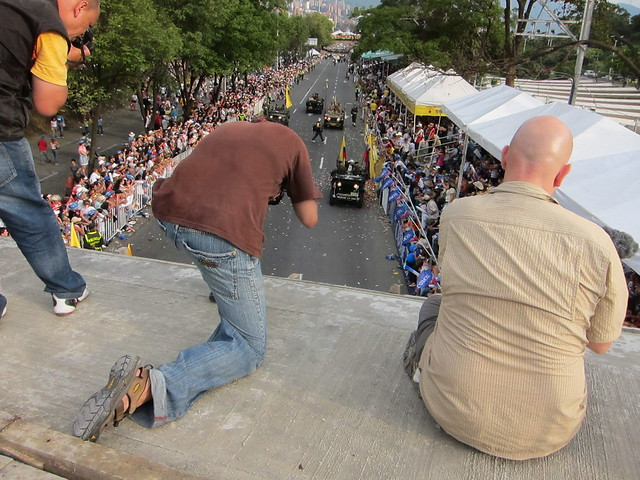 Troy (left) and Drew (right) taking advantage of our good views atop the bridge to photograph and video the parade.