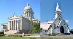Image of Oklahoma state Capitol building and a church