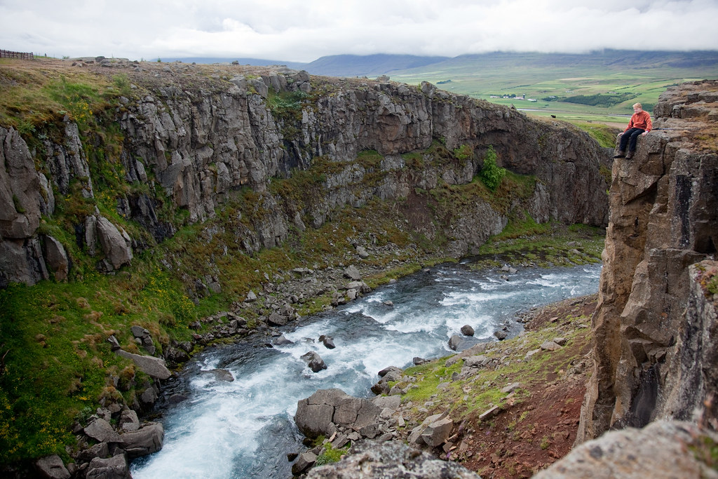 Iceland crossing - cliff top view of the lowland valleys