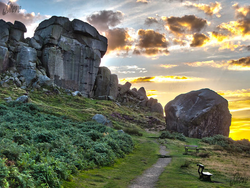 uk sunset england texture clouds landscape rocks britain path yorkshire moor hdr ilkleymoor cowandcalf canong9 jstevesw