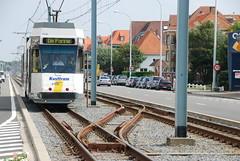 Tram arrivant à Nieuwpoort Beach