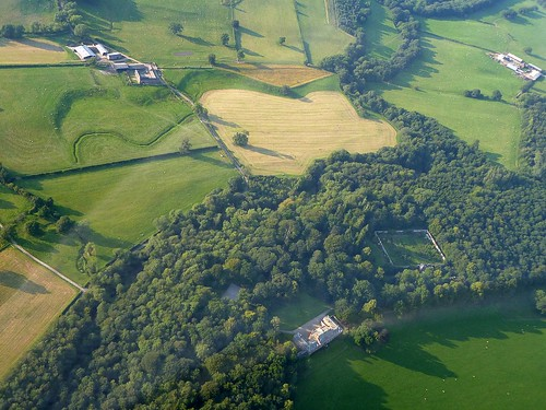 The site of Castlesteads fort from the air