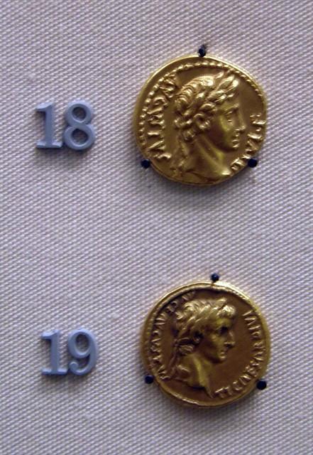 Aurei of Augustus and Tiberius, Roman Britain, British Museum