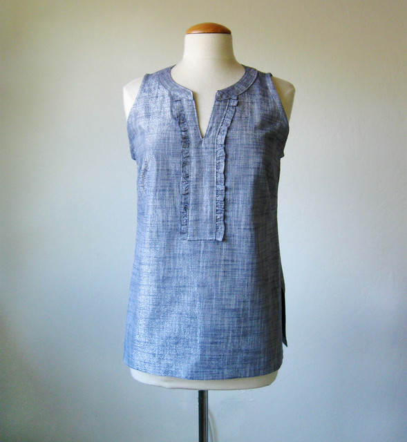chambray top front view on form