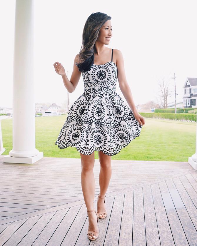 white black eyelet lace flared dress petite style