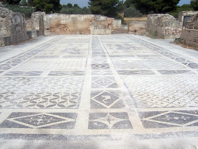 Mosaic floor, Roman Bath, Ancient Isthmia
