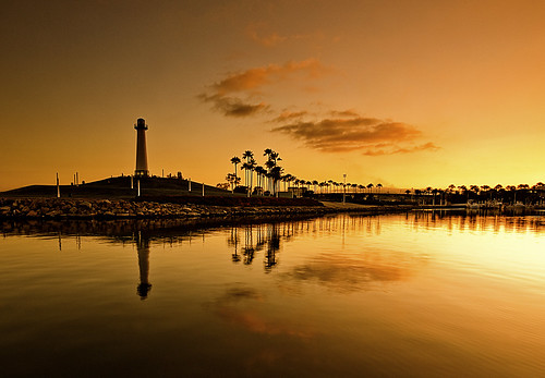 california sunset lighthouse tree beach water clouds reflections golden coast los rocks long angeles palm longbeach filter lee