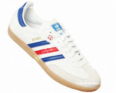 ... Adidas Samba White Blue Red Leather Trainers  ea1ebb7f1