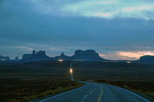 Car lights in Monument Valley Utah