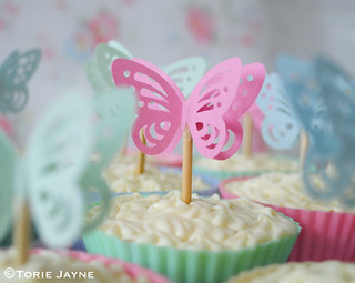 Pink Butterfly cupcake topper