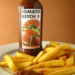 Homemade ketchup with fries.