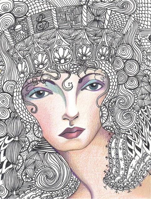 Zentangle portraits color a gallery on flickr for Doodle art faces