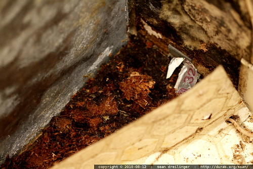disintegrated particle board under the heat pump blower