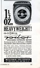 1 1/2 oz heavyweight Gossen Pilot light meter 1963
