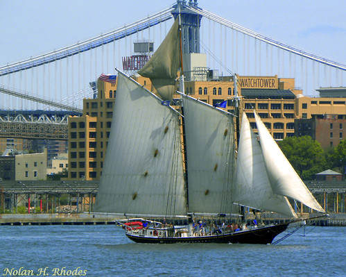 Clipper Ship Sailing in Downtown New York City