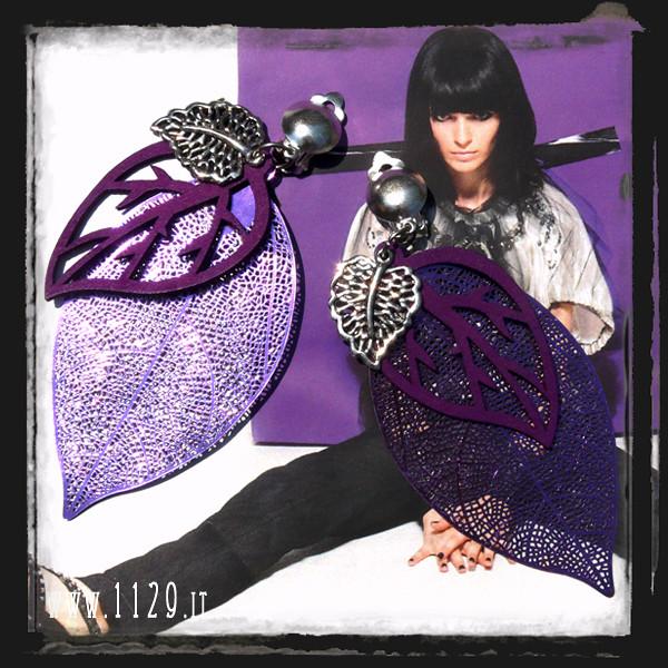 LHLEAF orecchini viola foglia - leaves purple earrings 1129