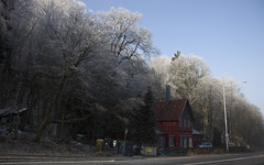 red house in iced air
