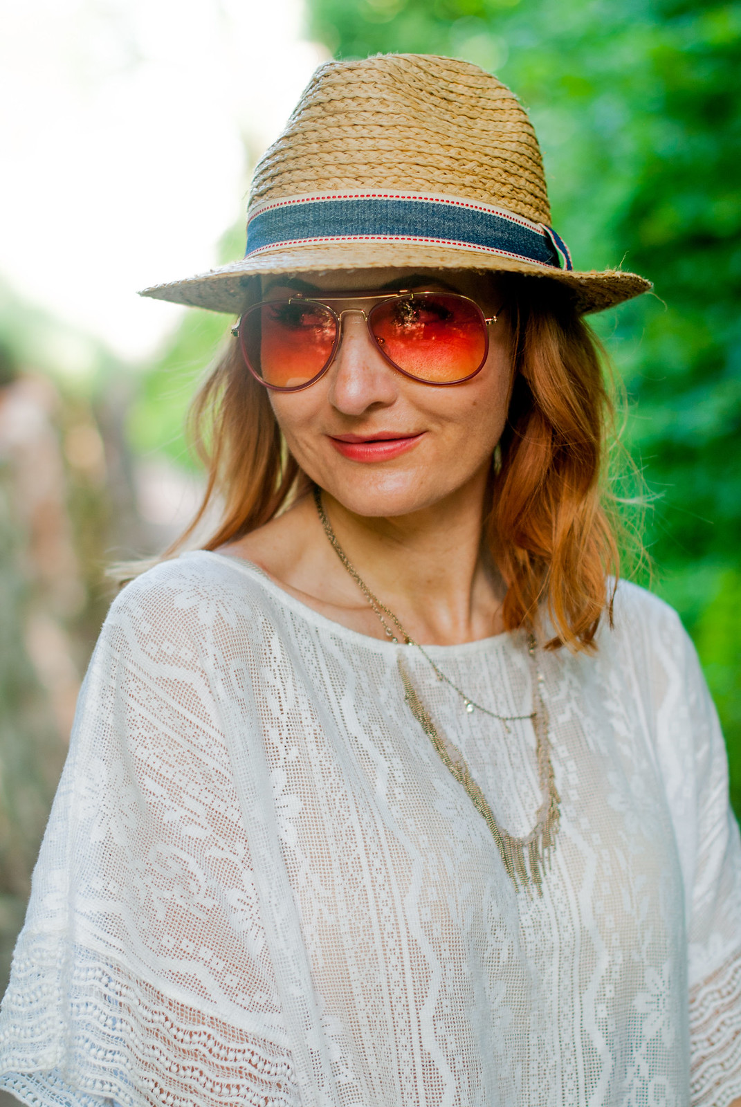 Red and white: A bold summer combination loose white lace top red wide leg linen pants straw hat white Adidas Stan Smiths orange tint aviator sunglasses | Not Dressed As Lamb, over 40 style