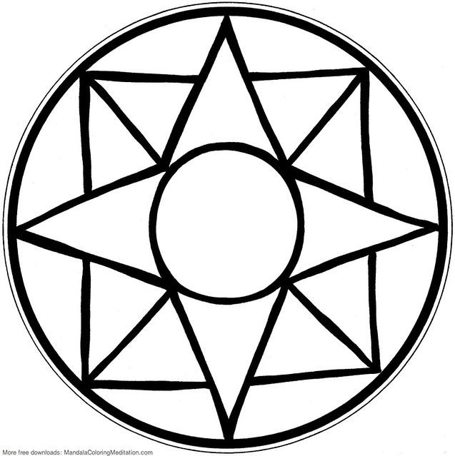 easy coloring pages to draw | Printable children coloring page: square mandala | An ...