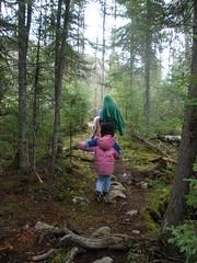 Girls on Path by Lake Saganaga