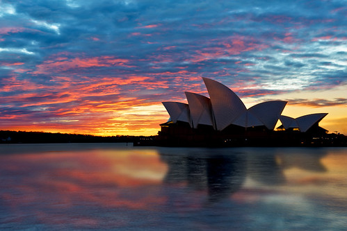 morning blue shadow house reflection building water silhouette architecture sunrise dawn bay harbor nikon opera colorful long exposure arch oz vibrant sydney australia icon structure quay hour curve hdr circular d700 surrealize