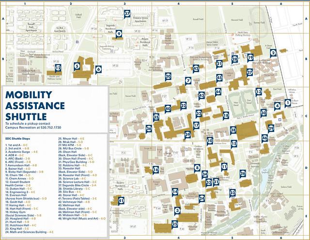 UC Davis Mobility Assistance Shuttle Map | The Mobility ... Uc Davis Campus Map
