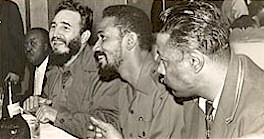 Cuban Prime Minister Fidel Castro and Comandante Juan Almeida during their visit to the United Nations General Assembly in 1960. They wound up staying at the Hotel Theresa in Harlem and were welcomed warmly by the African-American masses. by Pan-African News Wire File Photos