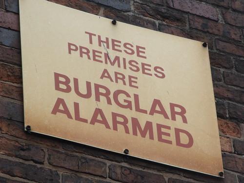 Burglar alarm sign.