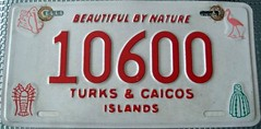 Turks and Caicos 1994 Series License Plate
