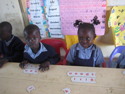 Word games, at school, Ulamba Orphanage, W. Kenya