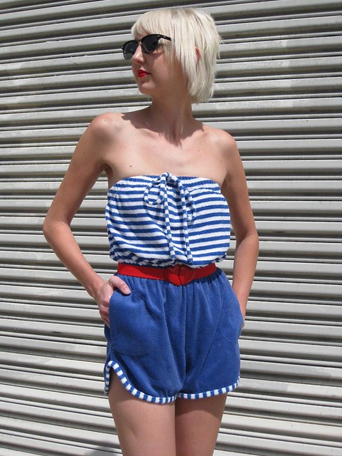 blue white stripes romper